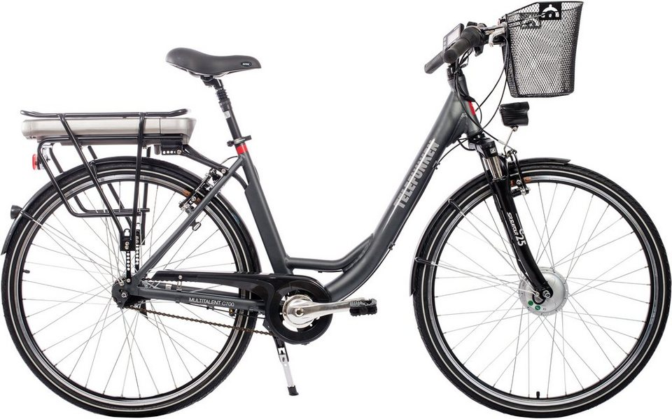 Telefunken Damen Alu City E-Bike, 28 Zoll, 7-Gang Shimano Nexus Nabenschaltung, »Multitalent C700« in anthrazit