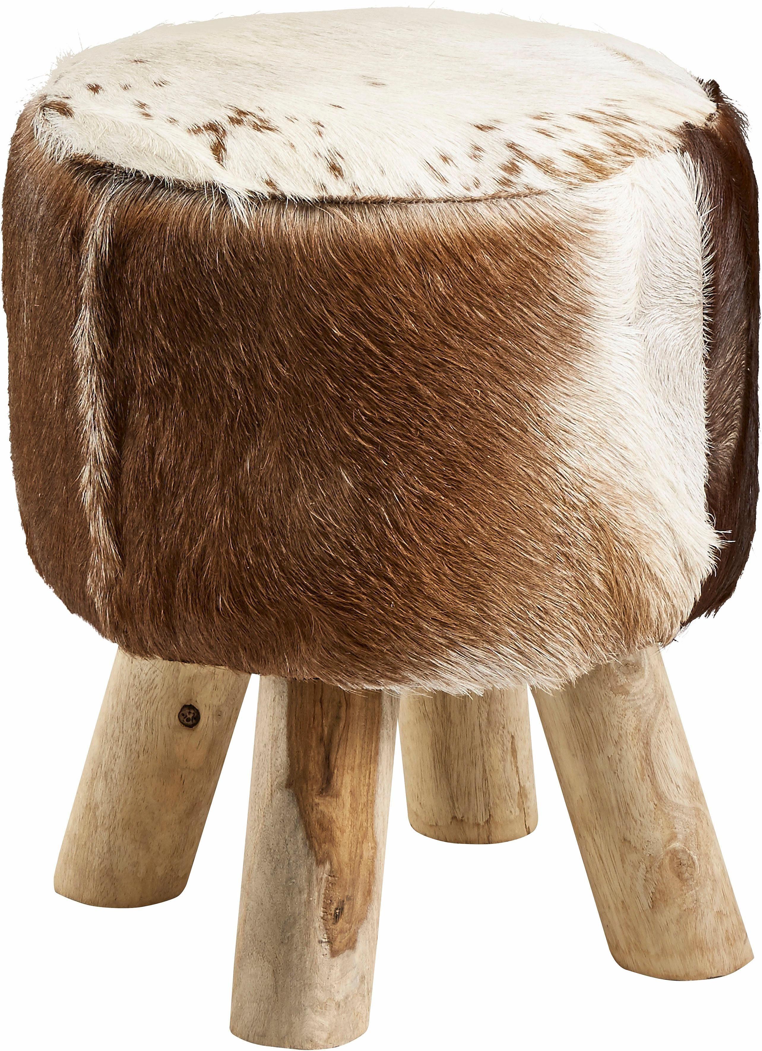 Home affaire Hocker »Kuhfell« mit Holzbeinen