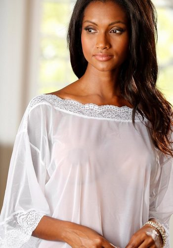 Damen Petite Fleur Gold transparentes Shirt weiß   06921983649755