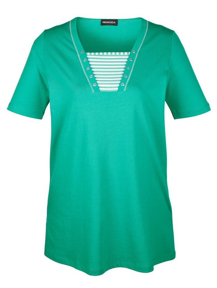 MIAMODA Longshirt in Streifenoptik in mint/weiß