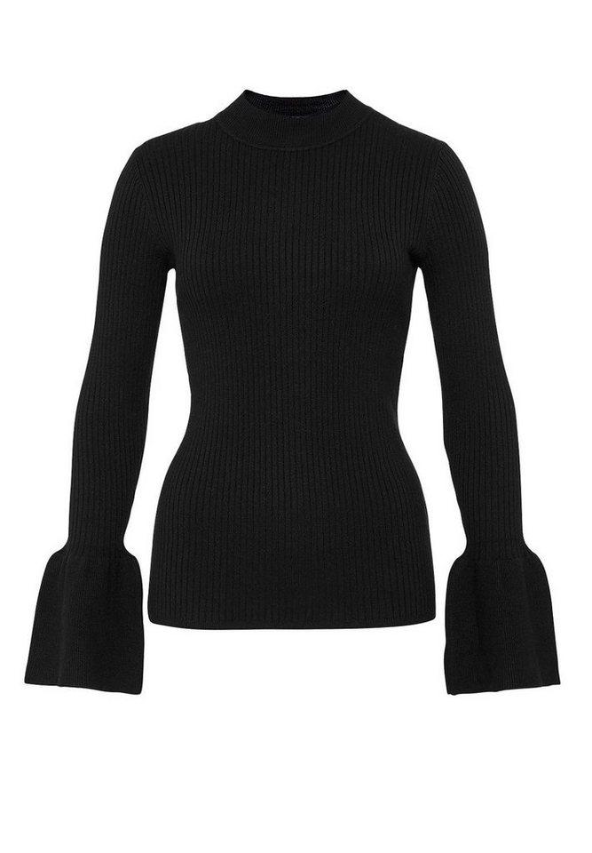 HALLHUBER Rippstrick-Pullover mit Volant-Ärmeln in schwarz
