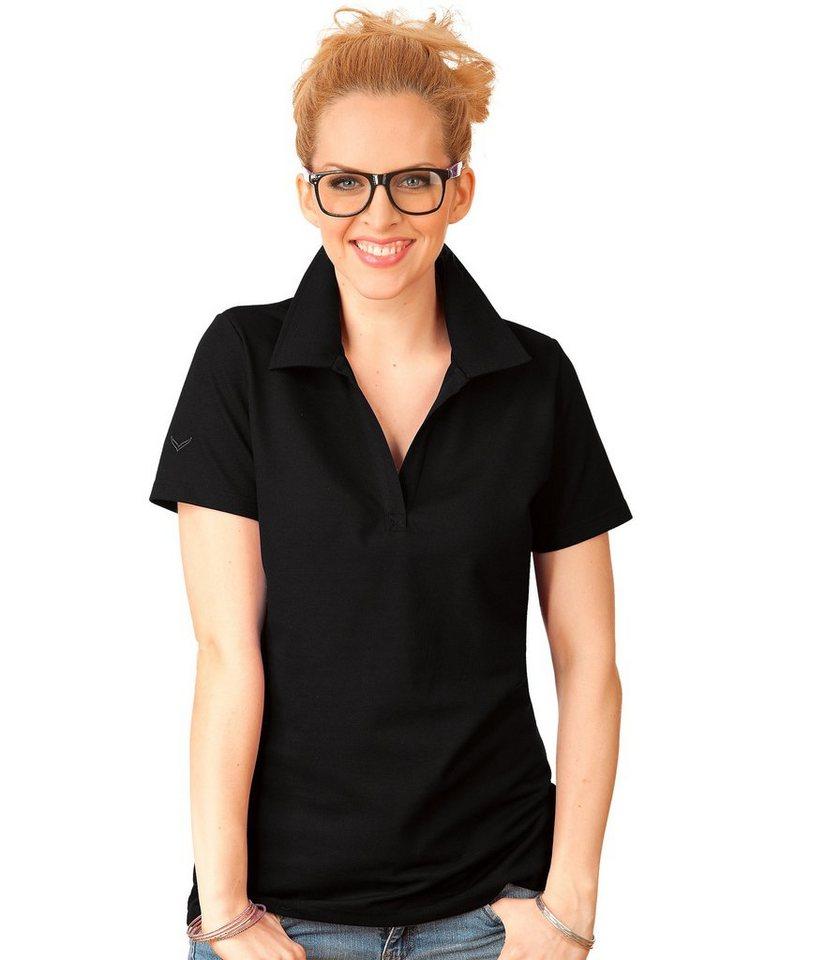 TRIGEMA Polo-Shirt ohne Knopfleiste in schwarz