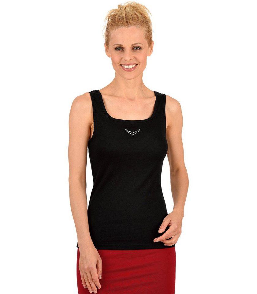 TRIGEMA Träger-Shirt mit Swarovski® Kristallen in schwarz