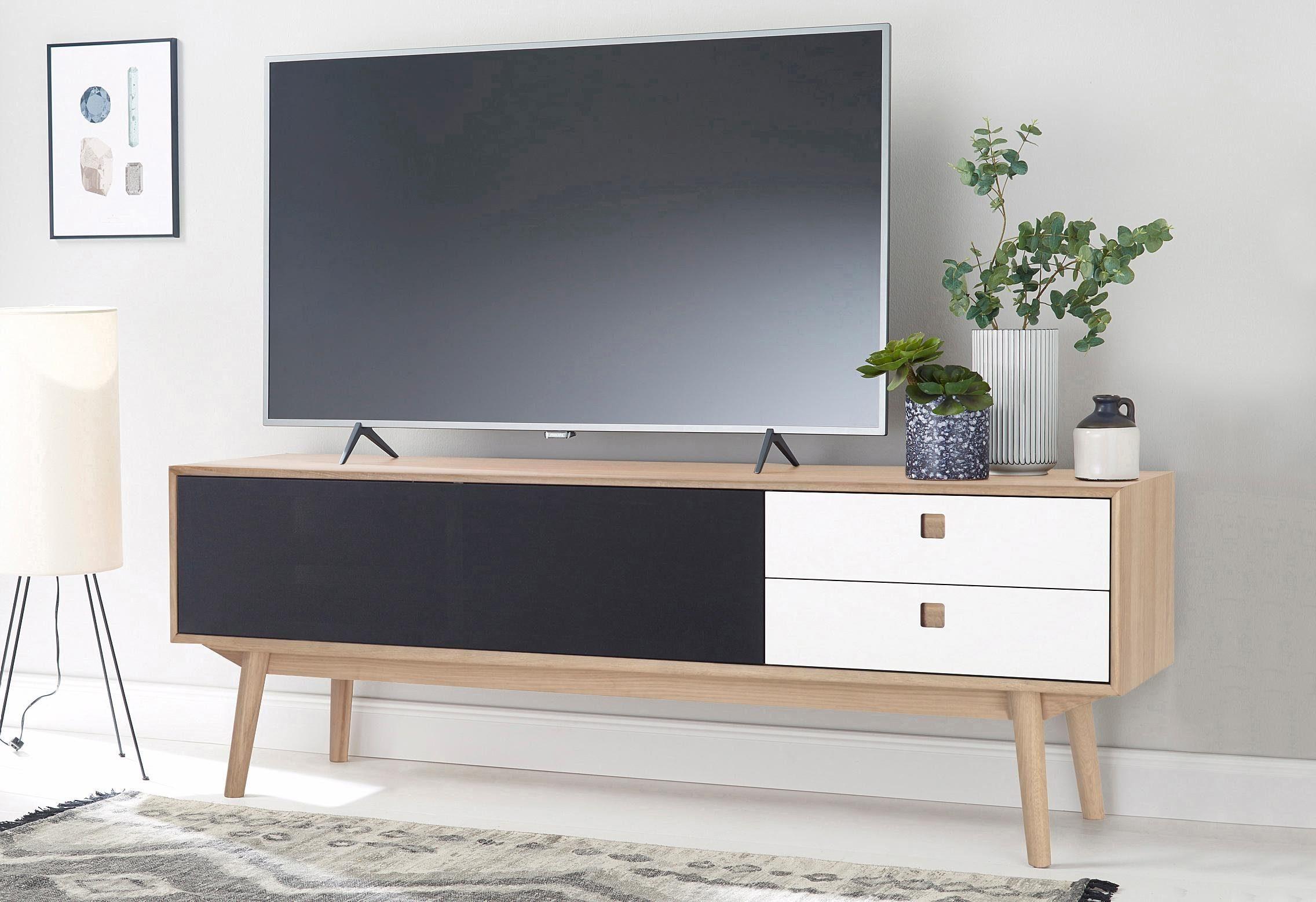 Tv Meubel Scandinavisch : Tv board aus holz in weiß schwarz