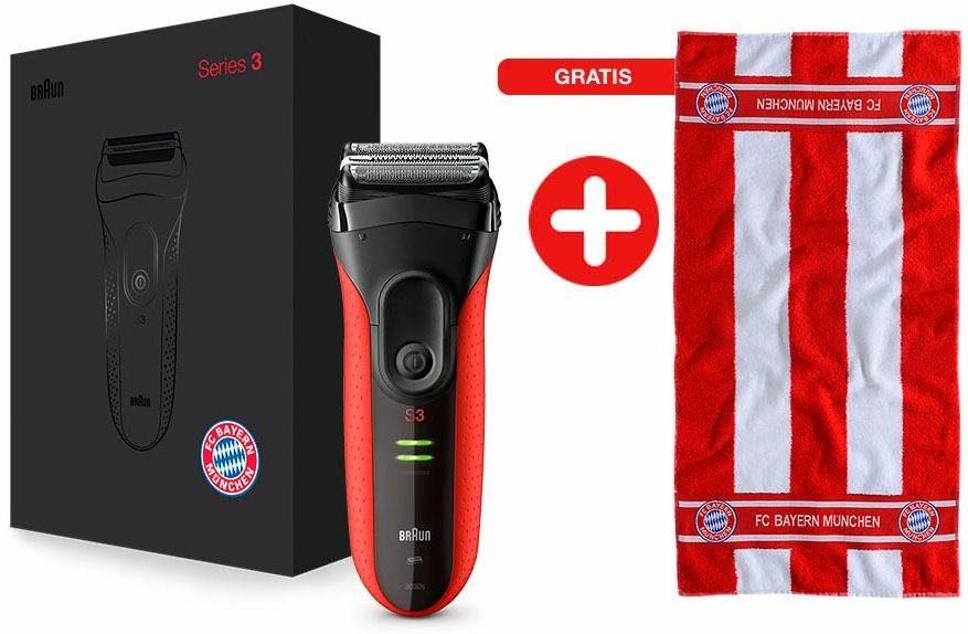 Braun Rasierer Series 3 ProSkin 3030s, FC Bayern München Edition + gratis Handtuch