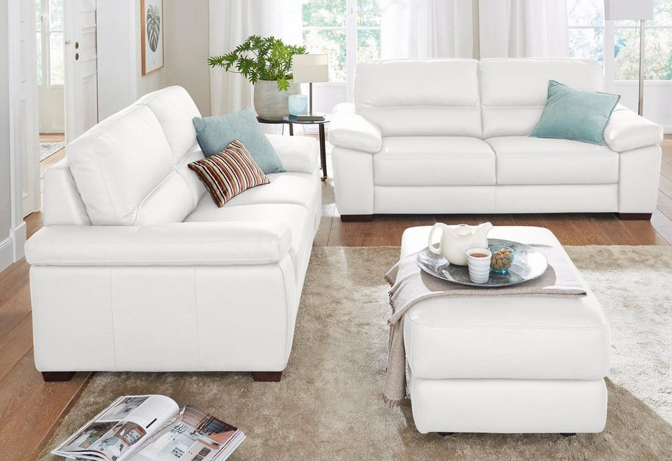 CALIA ITALIA Ledersofa Garnitur »Gaia« bestehend aus 2-Sitzer und 3-Sitzer in bianco ottico
