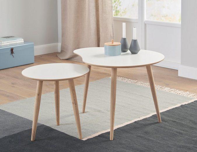 andas Couchtisch »Yvonne« (Set, 2 St), Yvonne», Set aus 1 rundem und 1 nierenförmigem Tisch, 2 Größen zur Auswahl