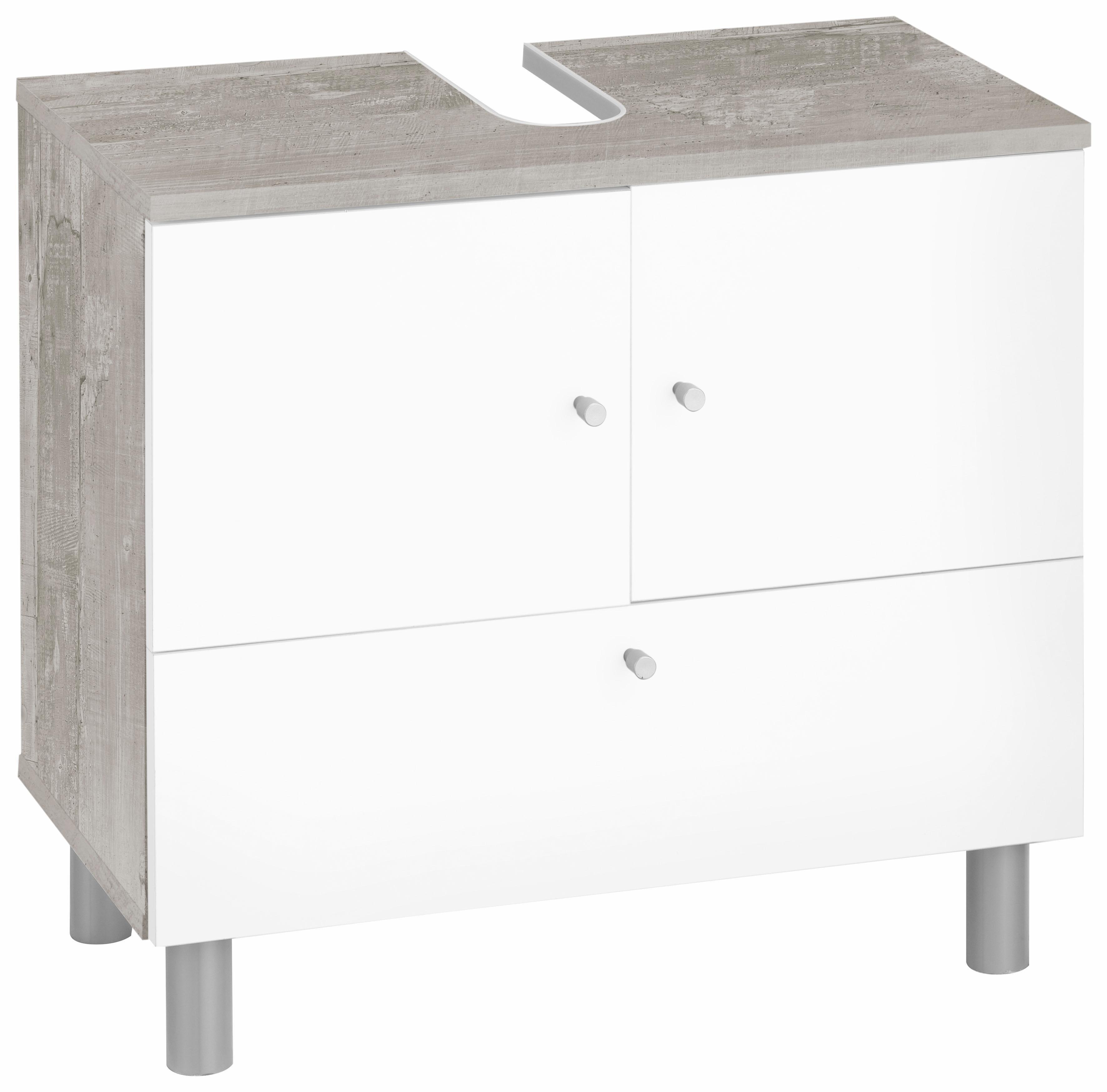 Waschbeckenunterschrank »Simply«, mit 2 Türen und 1 Klappe   Bad > Badmöbel > Waschbeckenunterschränke   Sonoma - Eiche - Beton - Melamin