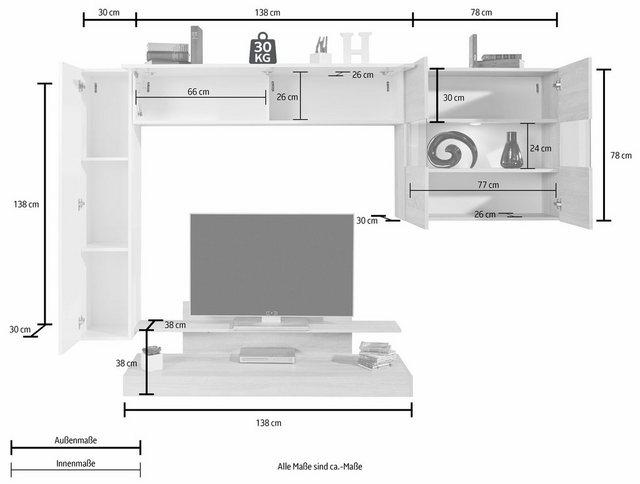 Wohnwände - LC Wohnwand »Nice«, (Set, 4 tlg)  - Onlineshop OTTO