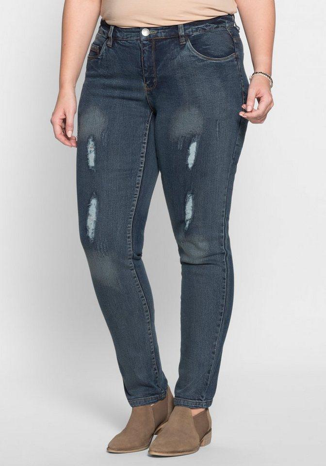 sheego Denim Schmale Stretch-Jeans in blue stone Denim