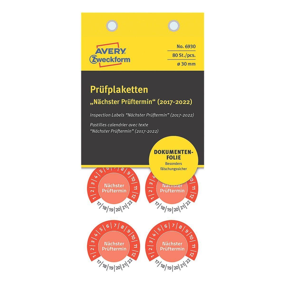 ZWECKFORMAVERY 80er-Pack Prüfplaketten »Nächster Prüfungstermin«