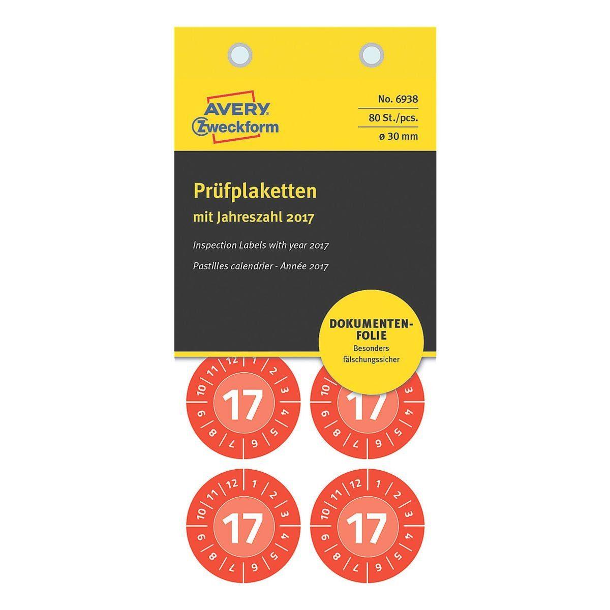 ZWECKFORMAVERY Folien-Prüfplaketten »Prüfungstermin 2017«