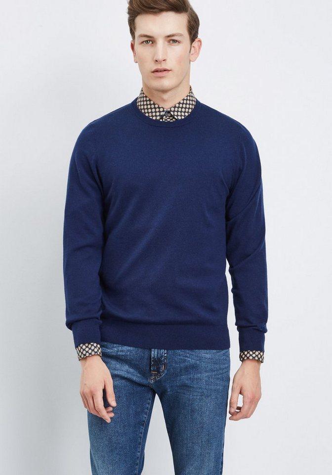 PIERRE CARDIN Feinstrickpullover Rundhals in blau