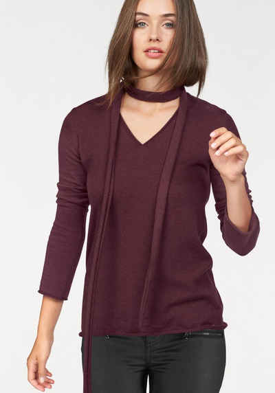 Reuthen Angebote Laura Scott V-Ausschnitt-Pullover, mit schmalem Schal