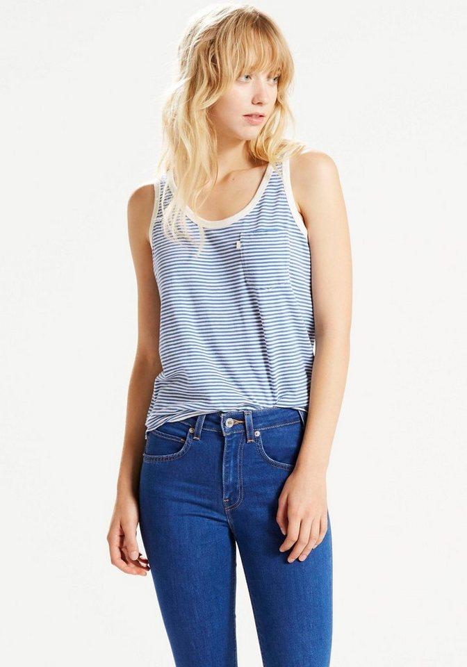 Levi's® Tanktop mit Brusttasche und seitlichen Schlitzen in blau-weiß