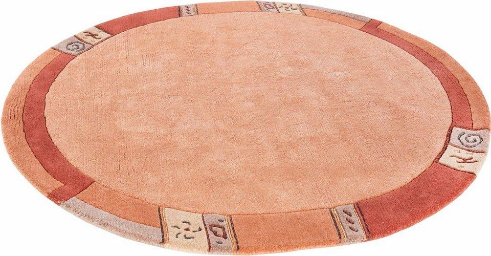 Teppich, rund, Luxor Living, »India«, handgeknüpft in terra