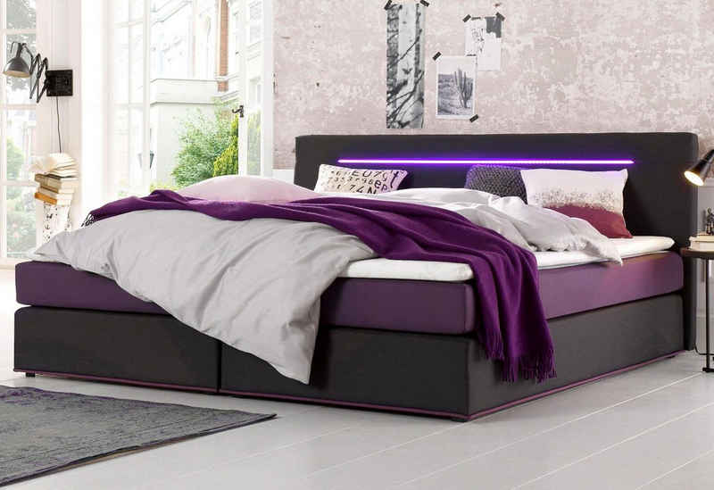 COLLECTION AB Boxspringbett, inkl. LED-Beleuchtung mit Farbwechsel und Topper