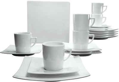 CreaTable Kaffeeservice »Elegance« (18-tlg), Porzellan, elegante Form