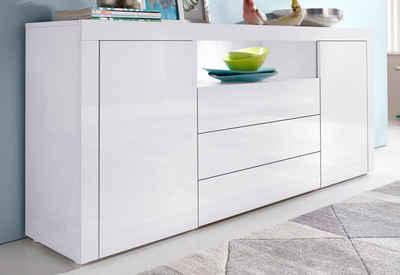 sideboard wei mit holz. Black Bedroom Furniture Sets. Home Design Ideas