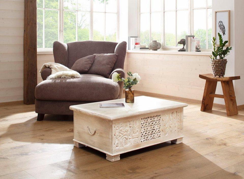 home affaire couchtisch bharat mit dekorativen fr sungen an der front breite 100 cm online. Black Bedroom Furniture Sets. Home Design Ideas