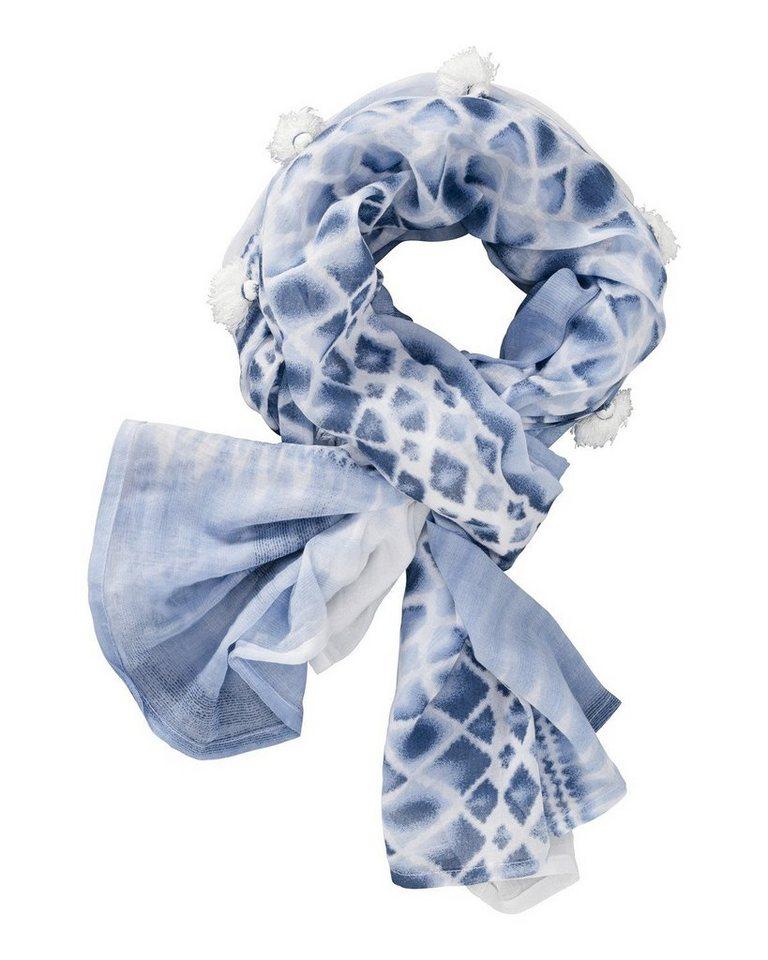 Passigatti Schal mit Quasten in Blau/Ecru