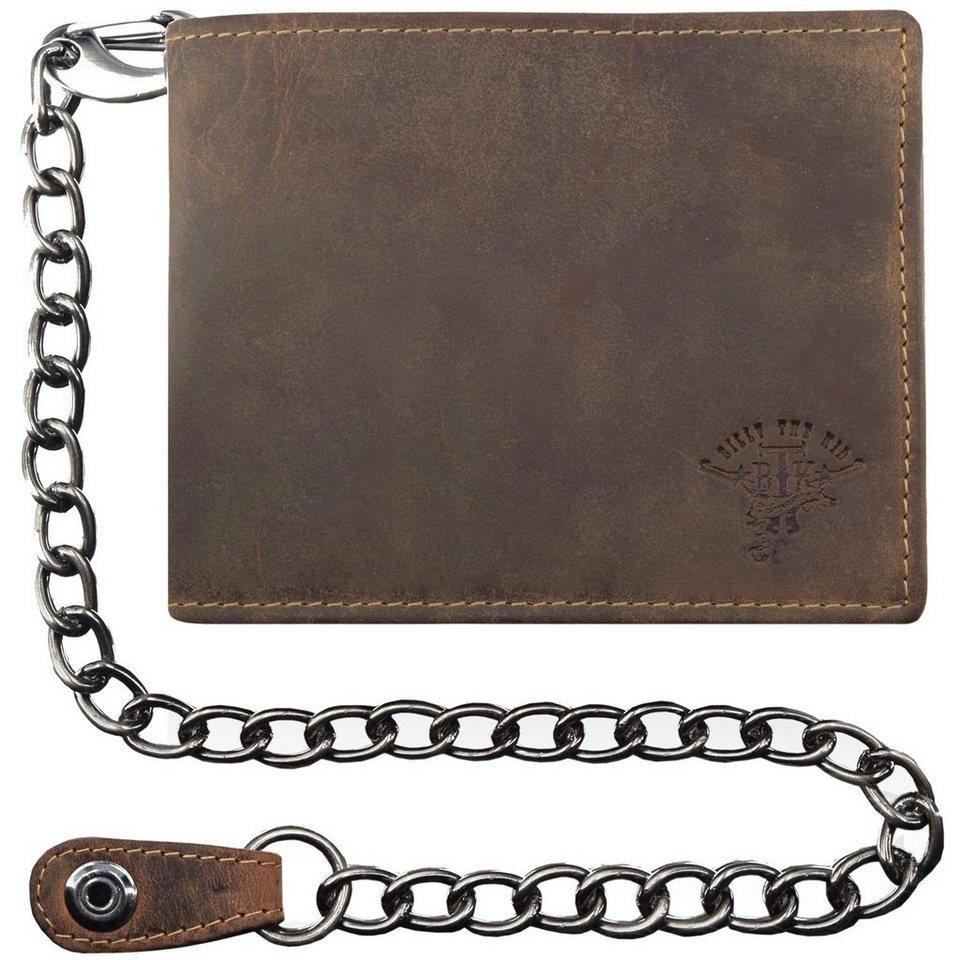 Billy The Kid XL Vintage Geldbörse Querformat Leder 12.5 cm mit Klappfach, Ket in brown