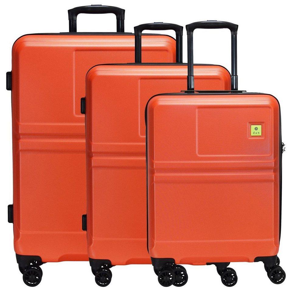 d & n d&n Travel Line 9500 4-Rollen Trolley Kofferset 3-tlg. in orange