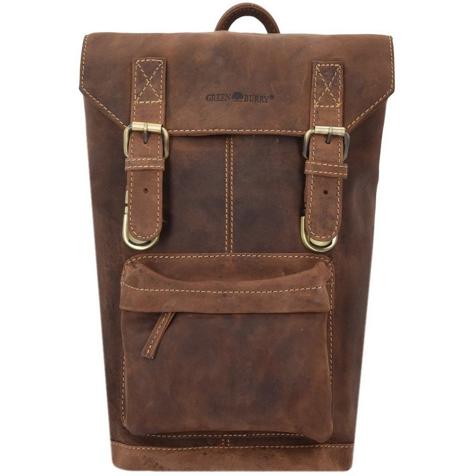 Greenburry Vintage Rucksack Leder 42 cm Laptopfach in brown