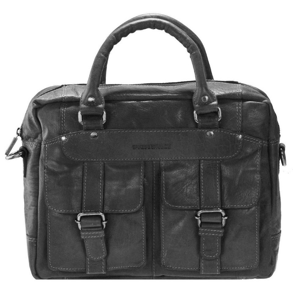 Spikes & Sparrow Bronco Business Handtasche Leder 33 cm in black