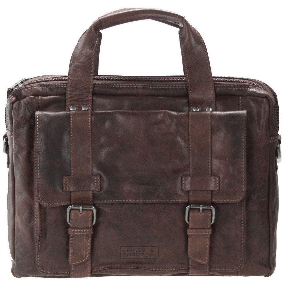 Spikes & Sparrow Bronco Business Handtasche Leder 41 cm in dark brown