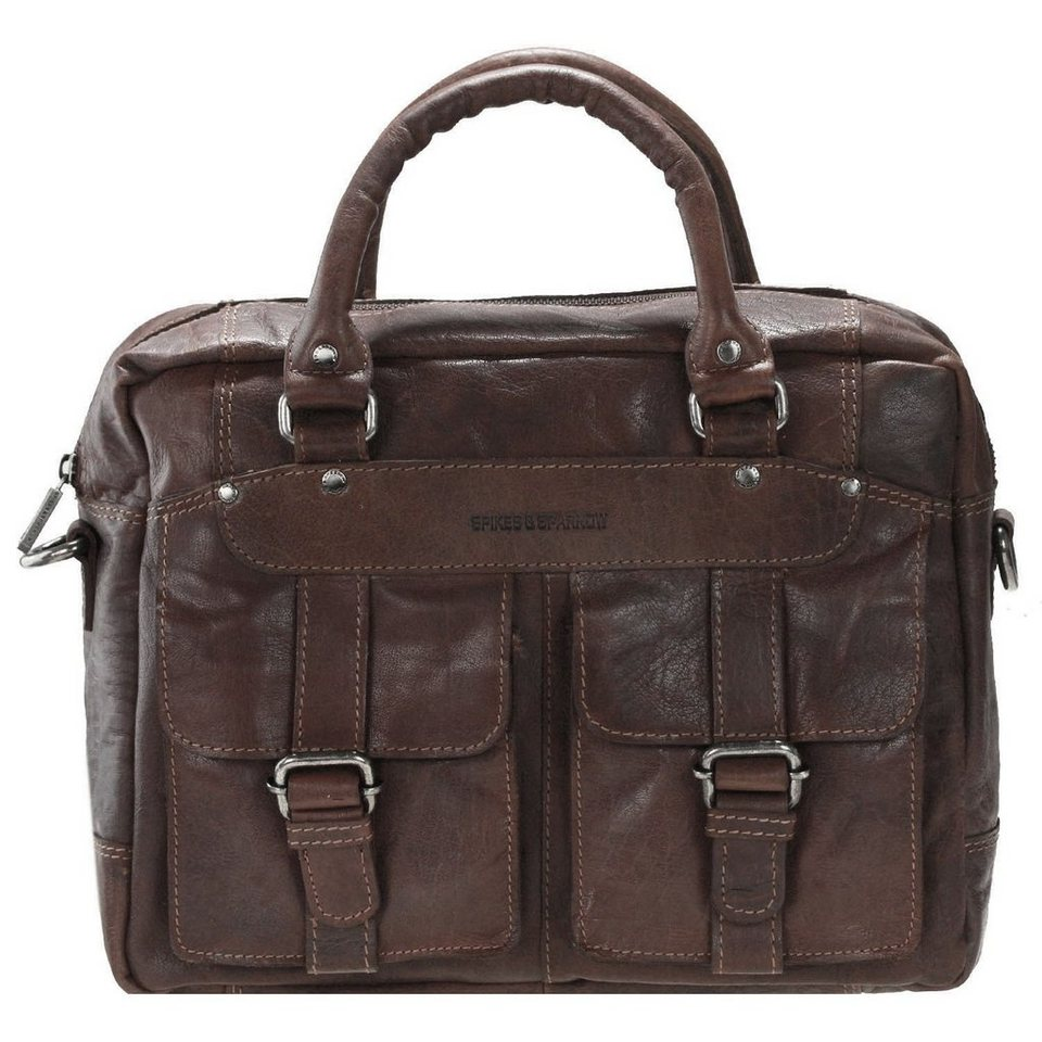 Spikes & Sparrow Spikes & Sparrow Bronco Business Handtasche Leder 33 cm in dark brown