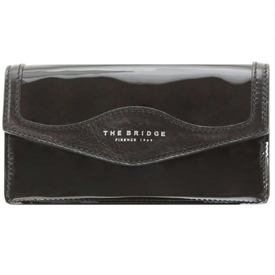The Bridge Glitter Clutch Tasche 22 cm Leder in nero