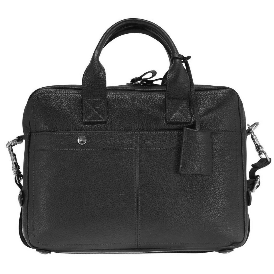 Bugatti Brisbane Messenger Tasche Leder 37 cm Laptopfach in schwarz