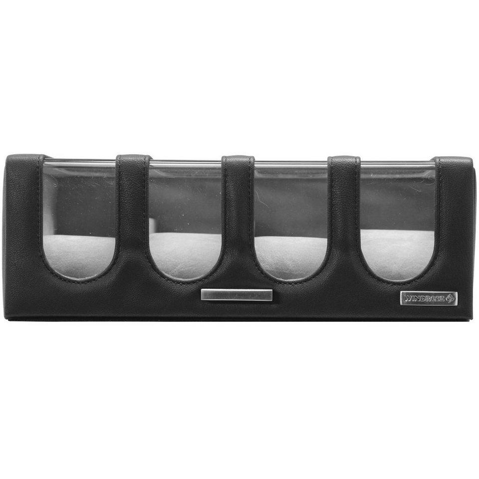 Windrose Chrono Uhrenkoffer 26,5 cm in schwarz