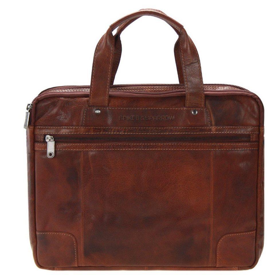 Spikes & Sparrow Bronco Business Handtasche Leder 36 cm in brandy