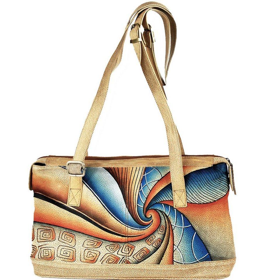 GREENLAND Art + Craft Schultertasche Leder 39 cm in bunt
