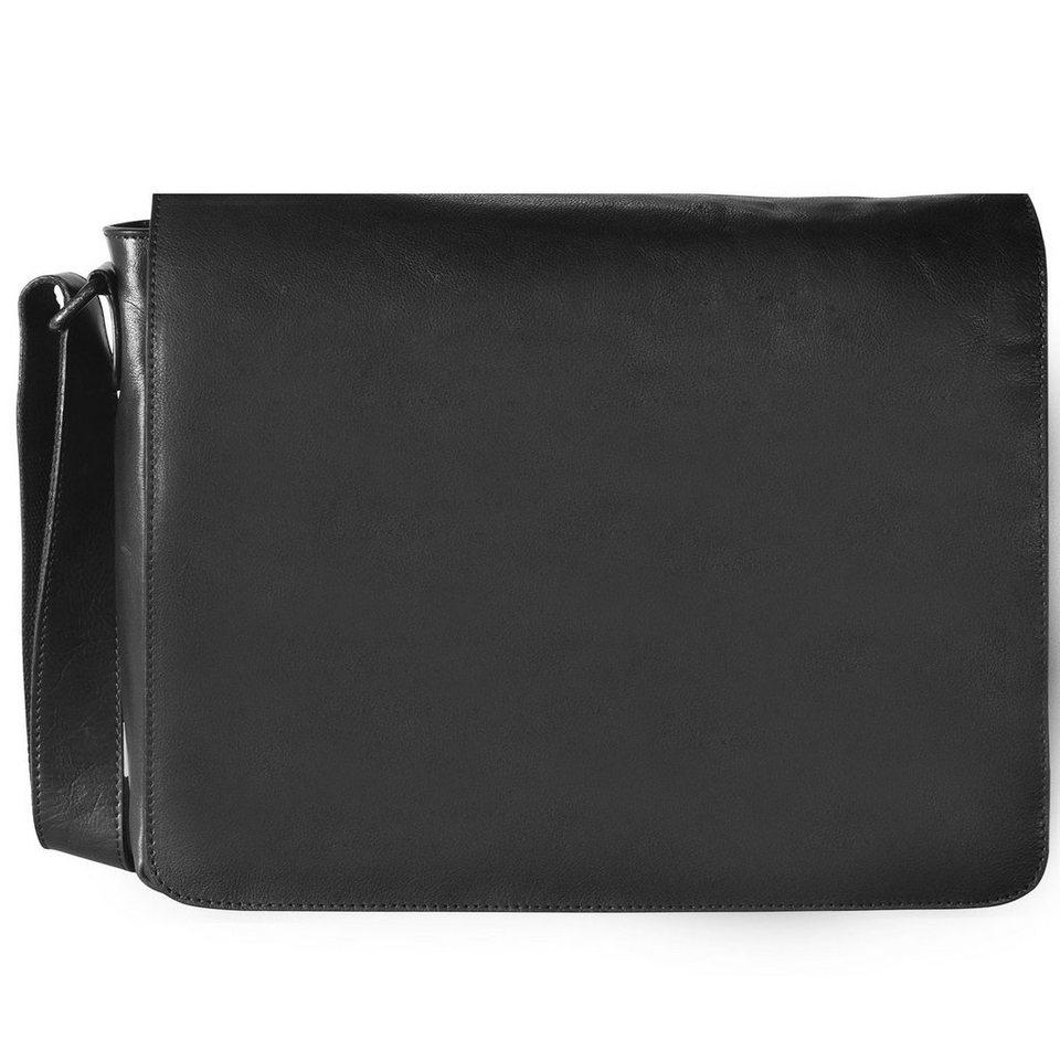 Leonhard Heyden Cambridge Umhängetasche M Leder 38 cm Laptopfach in schwarz