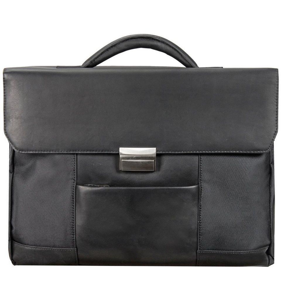 Dermata Aktentasche Nylon+Leder 42 cm Laptopfach in schwarz
