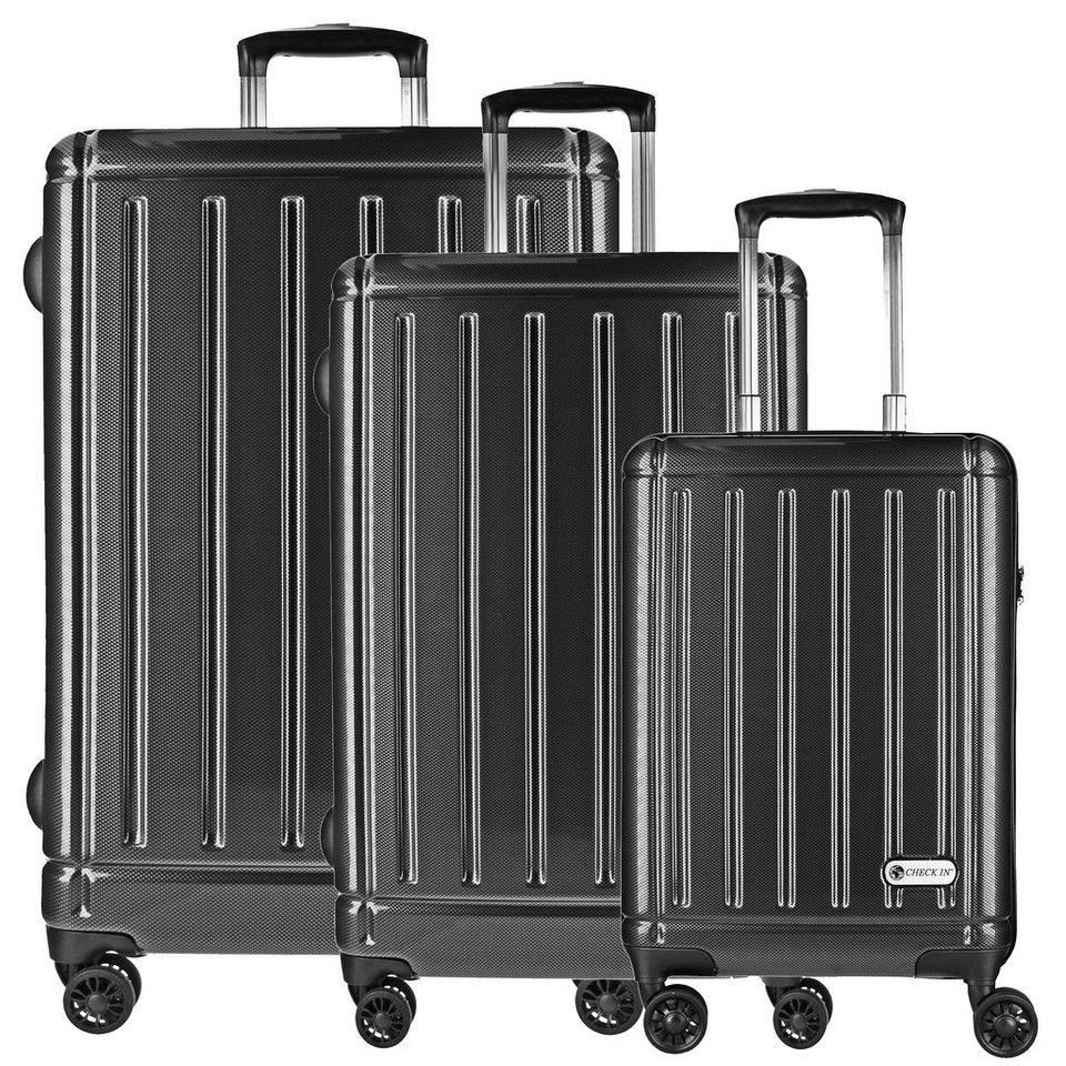 CHECK.IN Halifax 4-Rollen Kofferset 3tlg. mit Doppelrollen in carbon schwarz