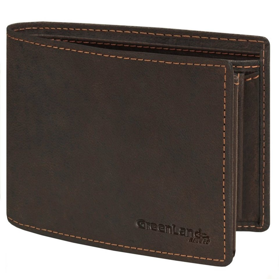 GREENLAND Westcoast Geldbörse Querformat 9994-03 Leder 12,5 cm mit Klappfa in braun
