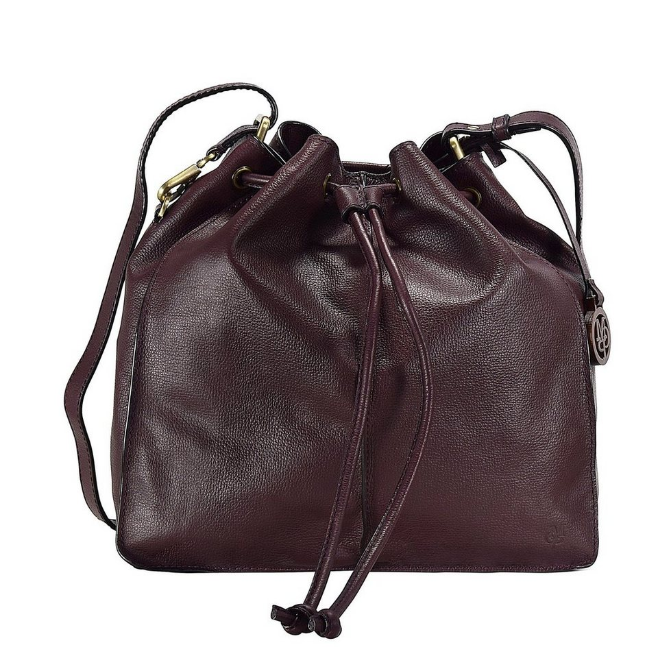 Marc O'Polo Grainy Cow Beuteltasche Leder 34 cm in ruby