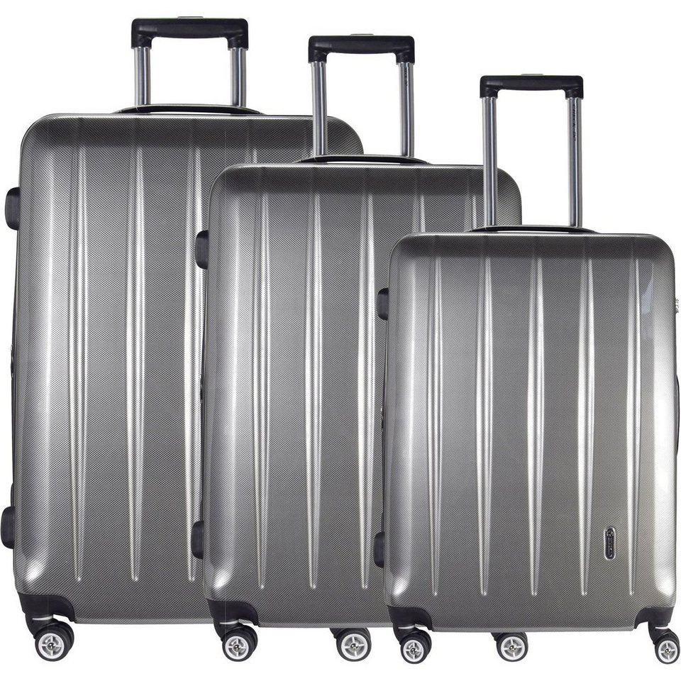 CHECK.IN London 4-Rollen Kofferset 3tlg. in carbon silberfarben