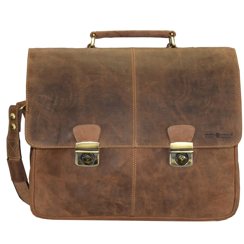 Greenburry Vintage Aktentasche Leder 42 cm Laptopfach