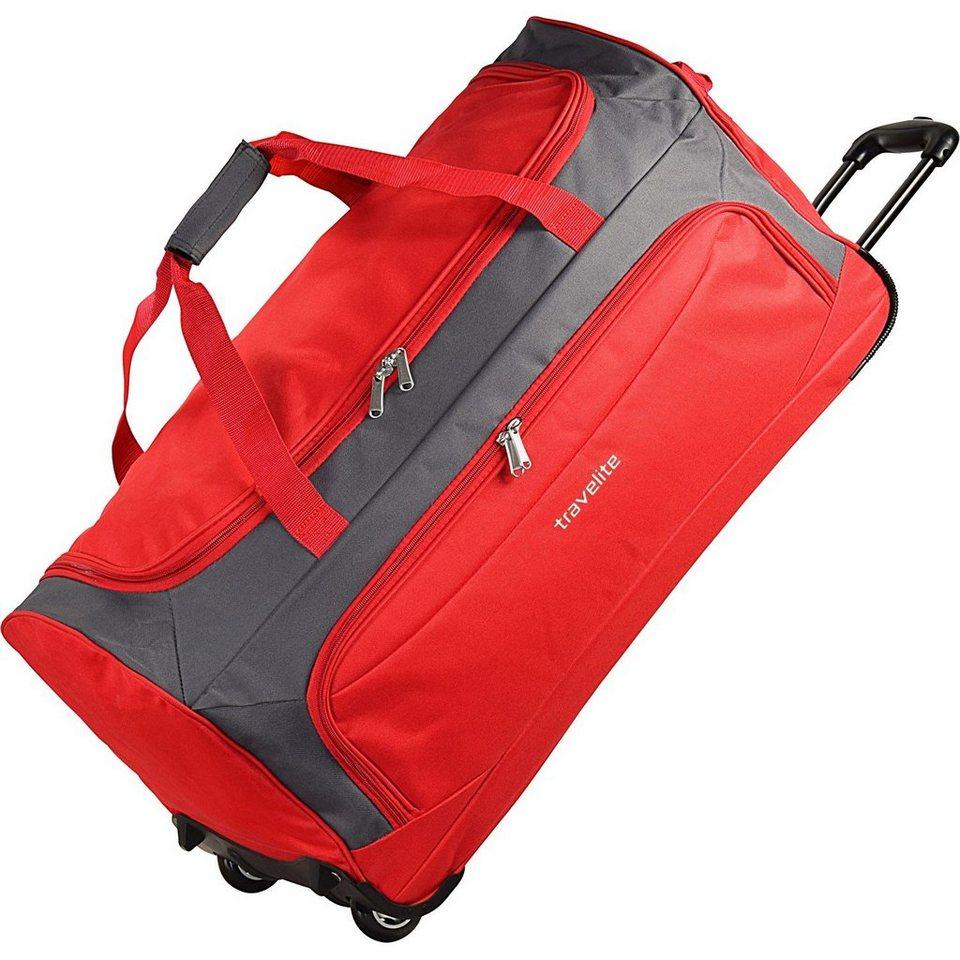 travelite Garda XL Reisetasche groß mit Rollen Damen und Herren mit Trolle in rot grau