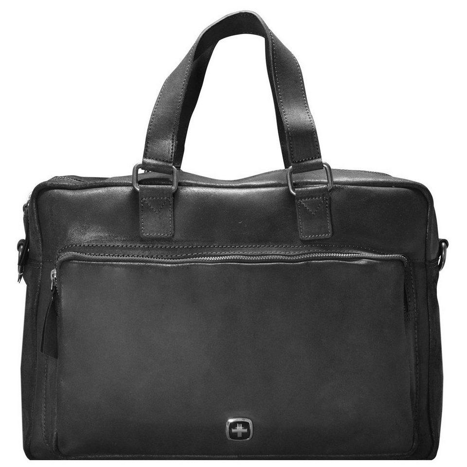 Wenger Cloudy Aktentasche Leder 40 cm Laptopfach in schwarz