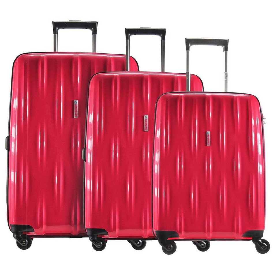 American Tourister American Tourister Waverider 4-Rollen Kofferset 3tlg. in raspberry