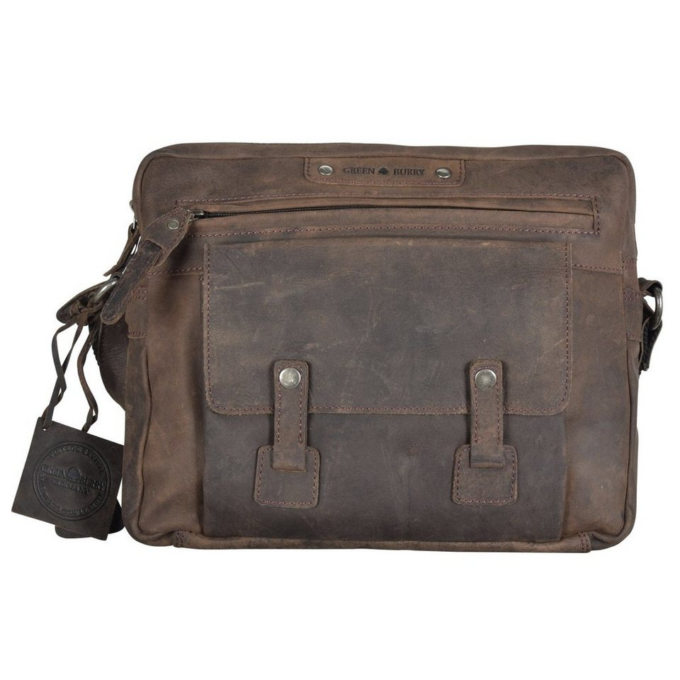 Greenburry Vintage Revival Umhängetasche Leder 30 cm in charcoal
