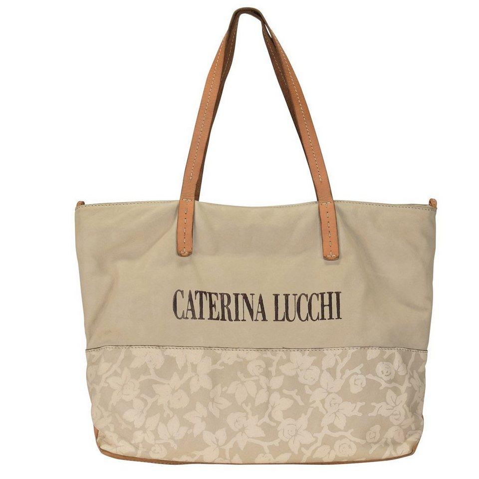 Caterina Lucchi Shopper Tasche Leder 40 cm in beige