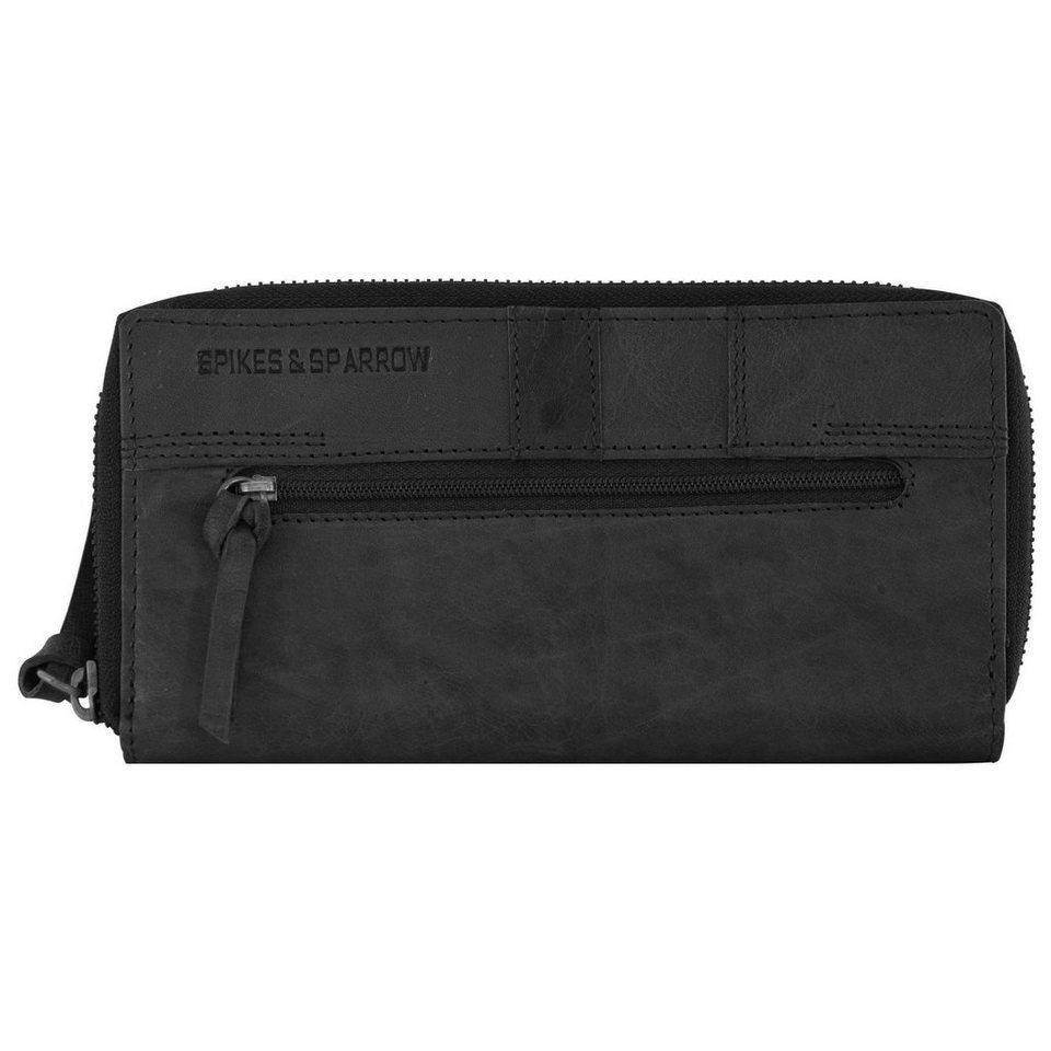 Spikes & Sparrow Bronco Geldbörse Leder 20 cm in black