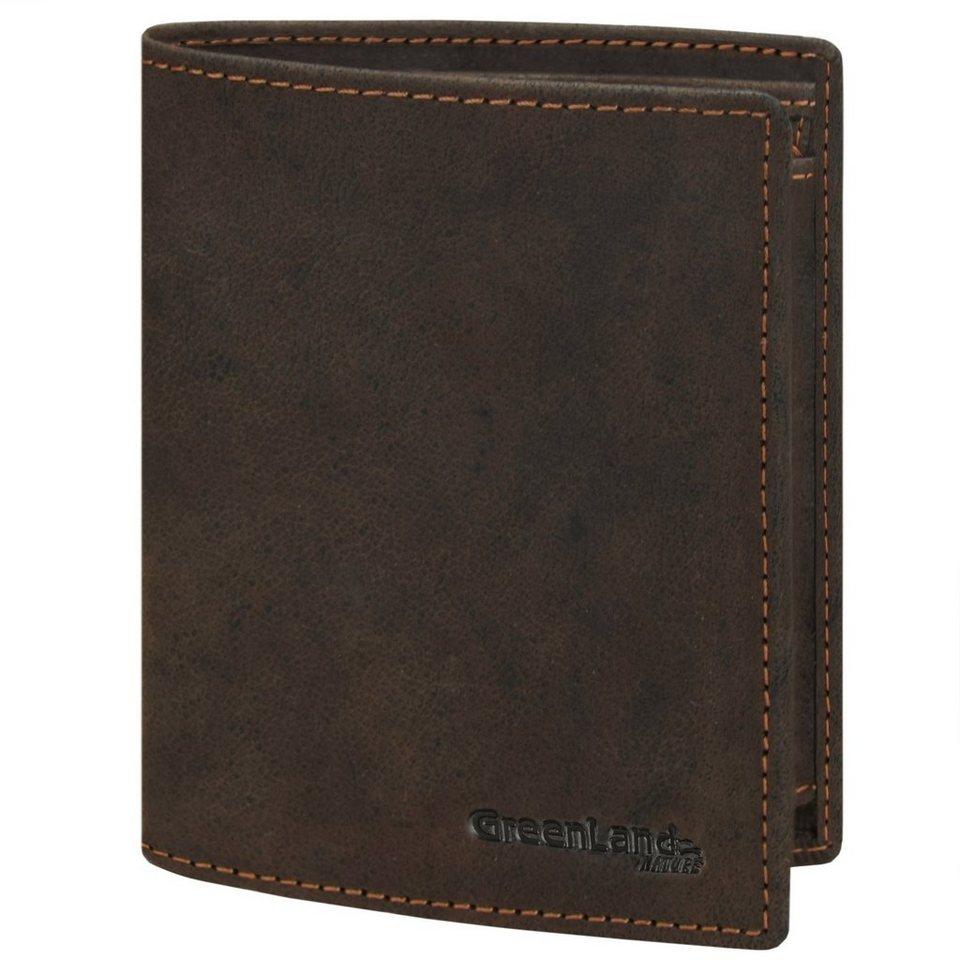 GREENLAND Westcoast Geldbörse Hochformat 9995-03 Leder 10 cm mit Klappfach in braun